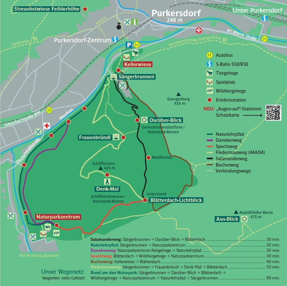 Lageplan Naturpark Purkersdorf mit Wanderwegen